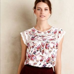 { Anthropologie } Nellore Floral Blouse Lace
